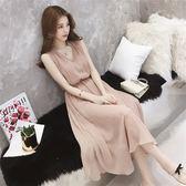 洋裝吊帶裙 高腰復古純色女神無袖連身裙飄逸超仙氣質長裙 巴黎春天