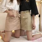 半身裙2020春夏季新款韓版簡約港味短裙百搭高腰顯瘦純色牛仔半身裙女潮