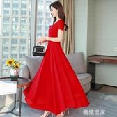2020新款流行裙子夏季紅色雪紡連衣裙女長款海邊度假沙灘長裙超仙『潮流世家』