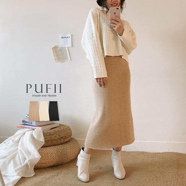 現貨◆PUFII-中長裙 加厚內刷毛海針織中長裙-1212  冬【CP17732】