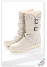 G.Ms. 針織蕾絲牛皮雕花中筒靴-米白