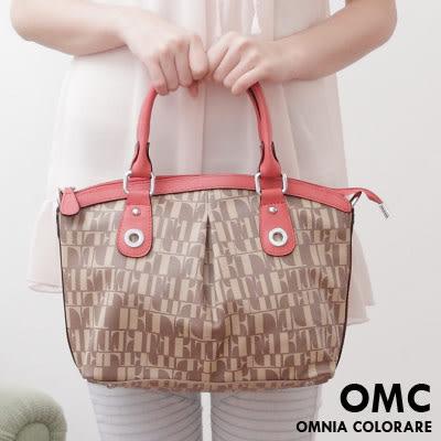 OMC - 氣質甜美文字拼接緹花抓皺手提斜背2用包