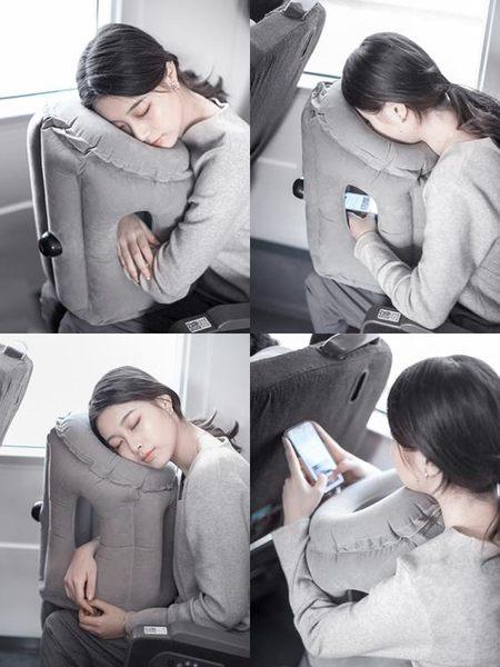 枕頭 旅行必備趴睡枕充氣枕頭火車辦公室睡覺車坐著午睡神器長途飛機枕 全館免運 艾維朵