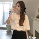 V領襯衫-夏季2021新款鏤空上衣白色短袖襯衣甜美V領氣質短款蕾絲衫女襯衫