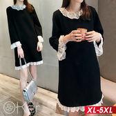 秋冬加厚寬鬆蕾絲花邊打底裙長袖洋裝 XL-5XL O-ker歐珂兒 153157