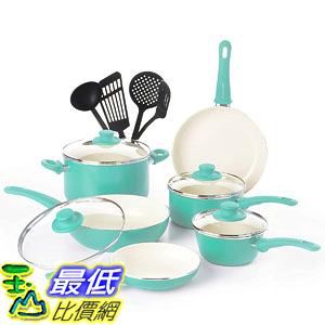 [8美國直購] 廚具套裝 GreenLife CW000531-002 Soft Grip Absolutely Toxin-Free Healthy Ceramic 14-Piece Turquoise