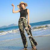 綠野仙蹤 度假夏海邊旅行歐美寬鬆碎花長褲雪紡闊腿花褲子女海灘   西城故事