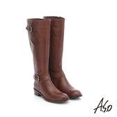 A.S.O 保暖靴  百搭真皮釦飾拉鍊長靴  咖啡