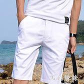 男士休閒短褲五分褲修身學生中褲白色黑色夏季薄款zt1375 【黑色妹妹】