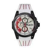 【FILA 斐樂】三眼帥氣賽車風格腕錶-百搭白/38-823-001/台灣總代理公司貨享兩年保固