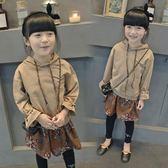 秋裝新款童裝中長款衛衣裙子女童連帽長袖兒童連衣裙中大童 交換禮物