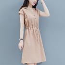氣質洋裝 裙子女棉麻連身裙夏季中長款大碼收腰顯瘦氣質-Ballet朵朵