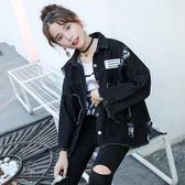 新款韓版港風牛仔外套女貼布破洞女原宿bf寬鬆學生牛仔上衣潮春裝『新佰數位屋』