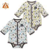 日本西松屋 厚棉前扣式長袖包屁衣二件組 灰樹林 男寶寶童裝【NI0265006】
