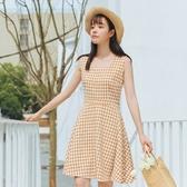 連身裙-無袖時尚清新優雅格紋女連衣裙73rx14【巴黎精品】
