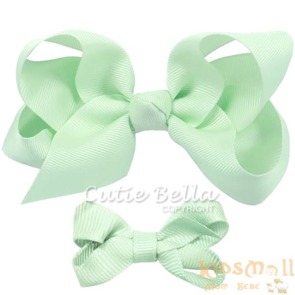 Cutie Bella 手工蝴蝶結髮夾 羅紋緞帶 全包布 中小款二入套組-Sky