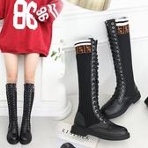襪靴2019秋新款瘦瘦靴長筒靴女過膝彈力馬丁靴女學生粗跟高筒長靴