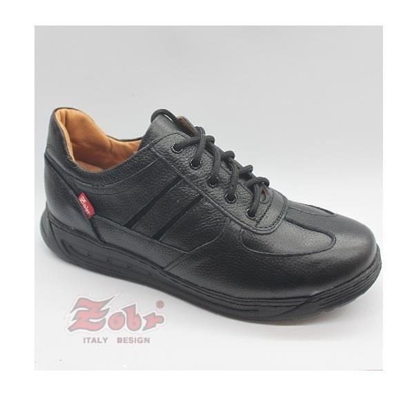 【南紡購物中心】ZOBR路豹  紳士真皮雙彈力氣墊休閒鞋黑款 UB92