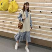 韓版時尚休閒套裝秋裝女裝chic系帶荷葉邊連衣裙 針織馬甲兩件套  晴光小語