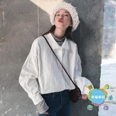 春秋女裝新品正韓學院風泡泡袖寬鬆翻領長袖白色襯衫休閒襯衣上衣