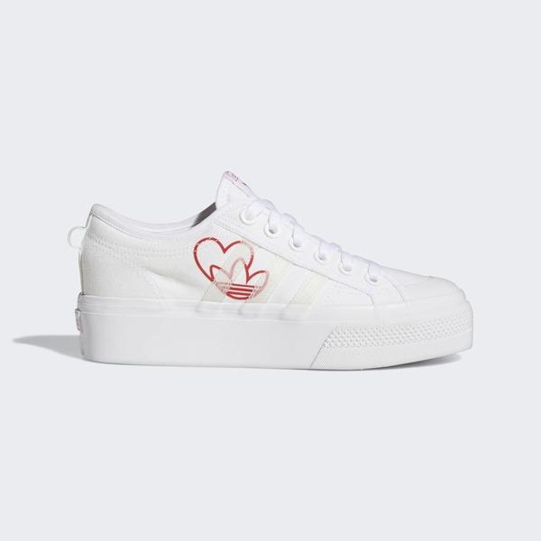 Adidas Nizza Platform W [FX9179] 女鞋 運動 休閒 經典 復古 帆布 厚底 白 紅