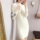 長裙洋裝針織連衣裙女秋冬新品流行新款女裝潮毛衣裙子打底內搭拜年裙 新年禮物