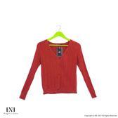【INI】實穿舒適、美好坑條織紋針織外套.梅紅色