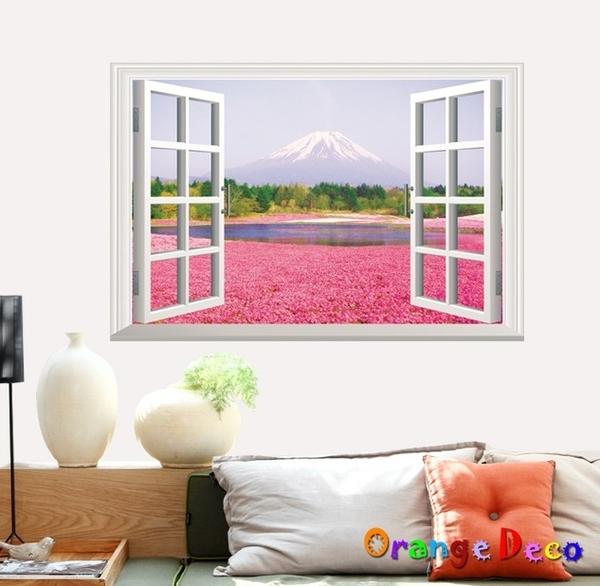 壁貼【橘果設計】粉色花海窗戶 DIY組合壁貼 牆貼 壁紙 壁貼 室內設計 裝潢 壁貼