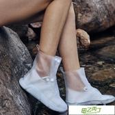 鞋套 中長款男女防雨鞋套兒童透明加厚學生防水搭扣PVC硅膠注塑水鞋 【快速出貨】