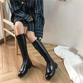 2021秋冬新款中筒長筒高筒小個子馬丁女鞋百搭瘦瘦騎士不過膝長靴 百分百