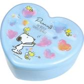 〔小禮堂〕史努比愛心 塑膠掀蓋收納盒附鏡《藍愛心泡泡》飾品盒珠寶盒4548626 09343