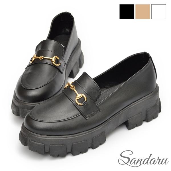 鬆糕鞋 經典馬銜釦厚底樂福鞋-黑