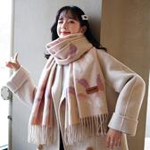 圍巾 女秋冬季日系仿羊絨漸變樹葉百搭兩用披肩長款韓版冬天圍脖潮
