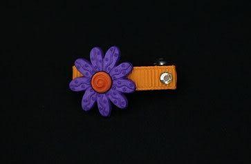 ★OBO CLUB HOUSE☆ 太陽花一字夾-紫配橘(彈力夾)