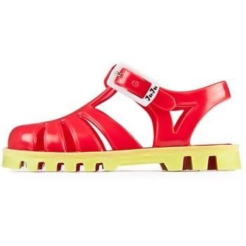 英國 Project Jelly JUJU果凍涼鞋/兒童涼鞋-亮紅 x 萊姆(13-21cm)