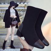 短靴 時尚方頭針織彈力襪靴 百搭短筒粗跟中跟馬丁靴 迪澳安娜