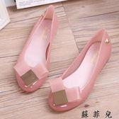 蝴蝶結果凍鞋女涼鞋平底糖果沙灘鞋