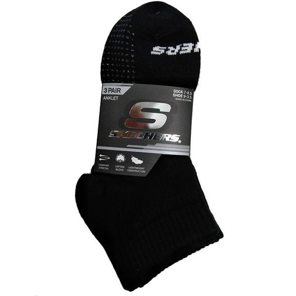 Skechers 大童襪 運動船型襪(3雙入) 黑色 隱形襪 排汗 透氣 防滑 運動 襪子 S112238-001