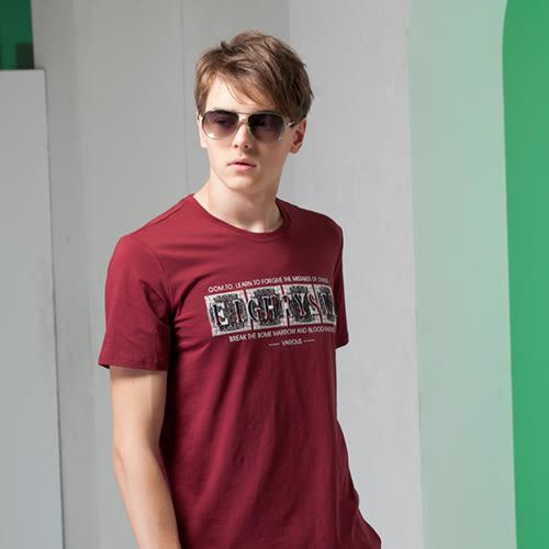 *86精品*竹節棉開創嚴選混色搶眼服飾設計圓領豬肝紅T恤款【16122-30】