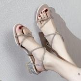 涼鞋 羅馬涼鞋女年新款百搭粗跟中跟一字帶仙女風水鉆涼鞋高跟