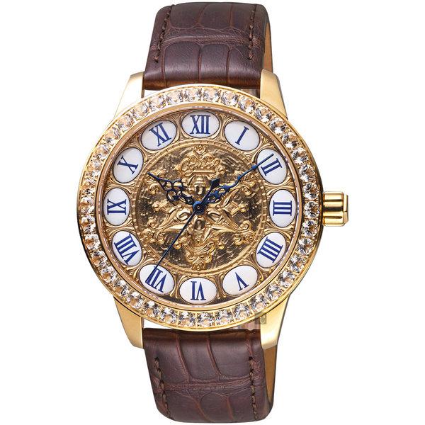 Ogival愛其華 復刻羅馬琺瑯機械錶-玫塊金x咖啡色/42mm 1550.23AGR