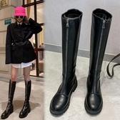 長筒靴女2019秋冬新款及膝靴長靴過膝騎士瘦瘦靴平底網紅靴子女潮