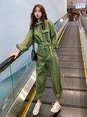 連體褲女秋新款韓版長款秋季寬鬆學生連身女裝時髦工裝套裝潮 亞斯藍