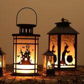 萬聖節仿真火焰燈酒吧桌面擺件南瓜燈場景布置手提小油燈裝飾道具
