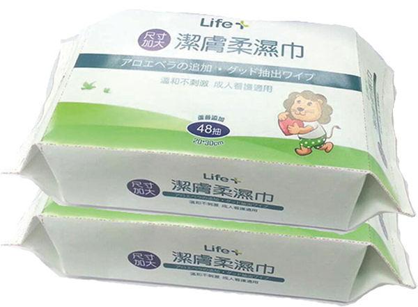 Life+ 加大潔膚柔濕巾(48抽*2包)【躍獅】