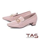 TAS金屬扣飾方頭漆皮粗跟鞋-甜美粉