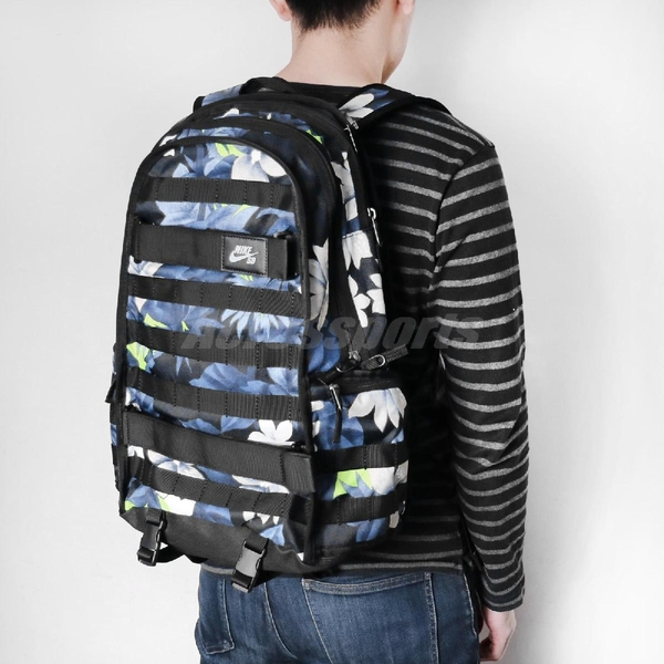 Nike 後背包 SB RPM Backpack 黑 藍 花卉 男女款 滑板系列 運動休閒 【ACS】 CN6809-010