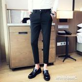 西裝褲 褲子男精神社會小伙小腳修身西裝褲牌牌琦韓版潮流   傑克型男館