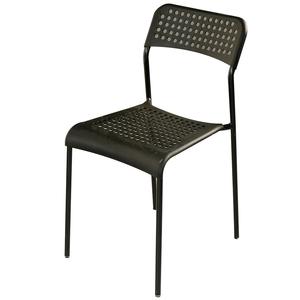 【家具+】2入組-Ted 簡約透氣舒適洞洞休閒椅/餐椅/戶外椅黑+白