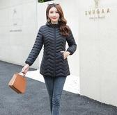 女士冬季保暖棉衣 女款中長款外套 2019新款韓版修身衣服 顯瘦長外套 純色棉襖輕薄棉服